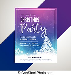 christmas party flyer with snowflakes tree