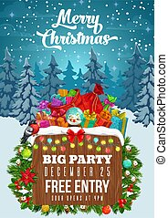 Christmas party flyer with Xmas tree, Santa gifts