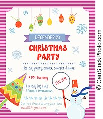 Christmas party funny poster with decorations and text...