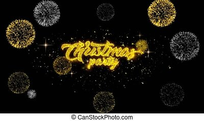 Christmas Party Golden Text Blinking Particles with Golden Fireworks Display