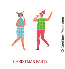 Christmas Party Happy People Vector Illustration