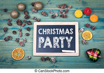 christmas party. Holiday background. Ornaments and decor on a wooden table