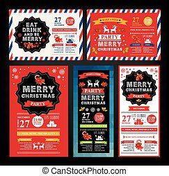 Christmas party invitation. Holiday card. Vector template ...