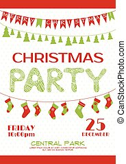 Christmas party invitation poster template