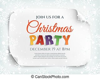 Christmas party invitation red curved paper banner on vector christmas party invitation poster flyer or brochure template stopboris Gallery