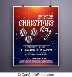 christmas party invitation template design with hanging balls