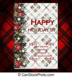 Christmas party invitation with fir, pine and holly berry branches garland. Red tartan background