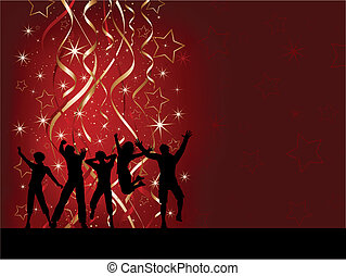Christmas party people - Silhouettes of people dancing on a...