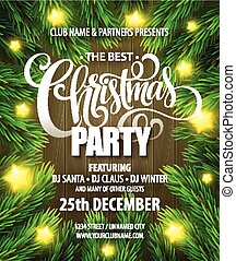 Christmas Party poster design template. Vector illustration ...