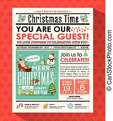 Christmas party poster invite background in newspaper style