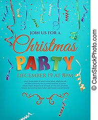 Christmas party poster template with confetti.