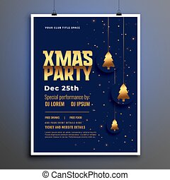 christmas party poster template with golden xmas tree