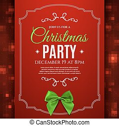 Christmas party poster template with green bow.