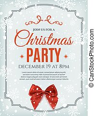 Christmas party poster template with red bow.