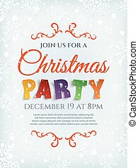 Christmas party poster template with snow and snowflakes.
