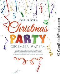 Christmas party poster with confetti and ribbons.