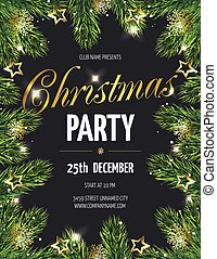 Christmas party poster with fir branches