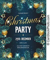 Christmas party poster with fir branches.