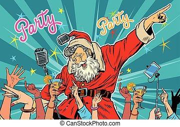 Christmas party Santa Claus singer, pop art retro vector...