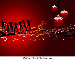 Christmas party - Silhouettes of people dancing on a...