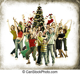 Christmas party. - Christmas Tree and happy people. Over...