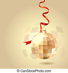 Christmas pastel background with hanging bal and ribbon