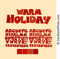 Christmas patchwork style abc font. Alphabet symbol set for xmas lettering. Cute peasant text letters with traditional patterns in red color