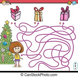 Cartoon Illustration of Educational Paths or Maze Puzzle Activity with Little Girl and Christmas Presents