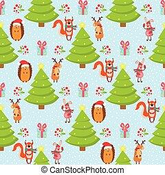 Christmas patr n on a blue background, hare, fox, hedgehog, deer.