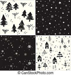 Christmas patten set and vector illustration
