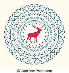 Christmas Pattern and Reindeer Vector Illustration