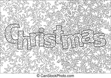 christmas pattern for adult coloring book, greeting card, zen art isolated on the white background