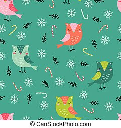 christmas pattern funny owls