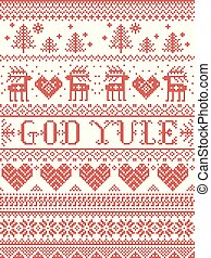 Christmas pattern Merry Christmas in Norwegian God Yule vector seamless pattern inspired by Nordic culture festive winter in cross stitch with heart, snowflake, snow ,Christmas tree, reindeer in white and red