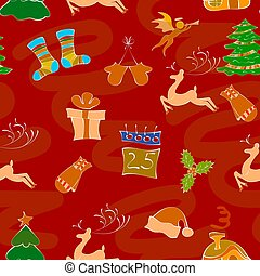 Christmas pattern on a red background