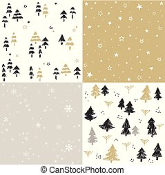 Christmas pattern set and vector illustration