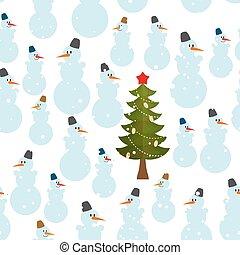 Christmas pattern. Snowman and Chri