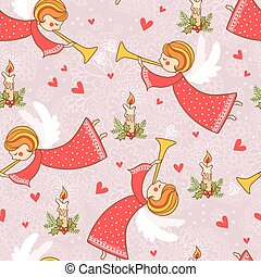 Christmas pattern with angels flying in the sky.