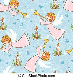 Christmas pattern with angels playing the trumpet.