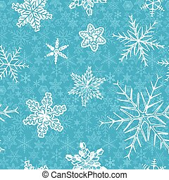 snowflakes on blue background.