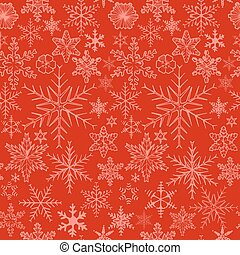 snowflakes on red background.