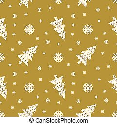 Christmas pattern with gold background