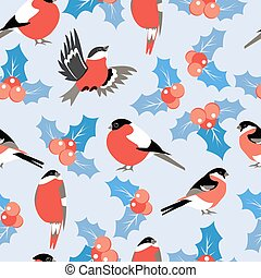 christmas pattern with leaves berries holly and birds bullfinch.