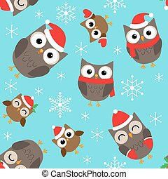 Christmas pattern with owls