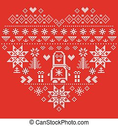 Christmas pattern with penguin 2