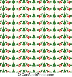 Christmas pattern with tree and cherries