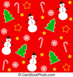 Christmas pattern with tree and snowman