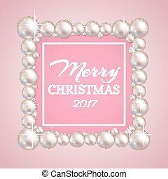 Christmas pearl frame. Vector fashion pearls border for wedding, anniversary or invitation