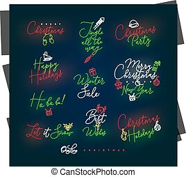 Christmas pen line lettering color