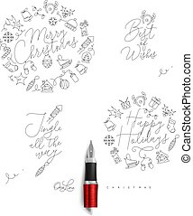Christmas pen line monograms